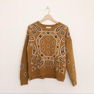 Madewell Bandana Pullover Sweater in English Moss
